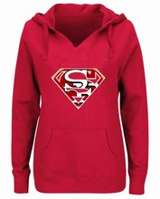 Women's Winter 49ers Fans Hoodies New Design San Francisco Sweatshirts Superman SF Logo Picture Print Fashion V-neck Pullover(China)
