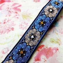 3.3cm 33mm 1-3/8' blue beige classic star heart miao symbol antelope horn ribbon costume laciness national jacquard webbing lace
