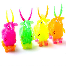1Pcs LED Light Squeeze Anti Stress Toys Autism Flush Sika deer Flash Ball Elasticity Funny Toys For Children Luminous Toys(China)