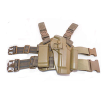 hunterking Quick Tactical Military Special Forces Right Hand Paddle & Leg Belt Fit Drop Leg Gun Holster For Colt 1911 Tan Color