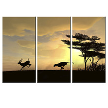 Unframed Canvas Painting Wolf Chased Deer Oil Painting Wall Sticker Grassland Scenery Sunset Art HD Poster Home Decoration 3Pcs