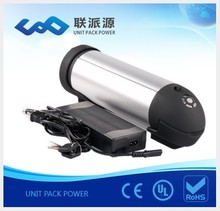 Free shipping li ion type 24v 10Ah bottle battery for ebike+charger