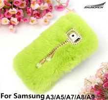 14 Colors Rabbit Fur Plush Covers Luxury Cell Phone Cover DIY Diamond Plus Back Case Bags For Samsung Galaxy J3/J5/J7/A3/A5/A7(China)