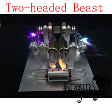 Cool !Miniature Stirling engine 'Two-headed Beast' Stirling engine engine generator model hobby Educational Toy Kits