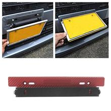 Universal Adjustable Car License Plate Frame Holder Carbon Fiber Racing Number Plate 3 Colors Auto Mount Bracket Car-styling New(China)