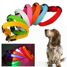 1pcs Dog Collars Nylon pet accessories LED Dog Leash Night Safety LED Flashing Adjustable Drawing Small Leads 7 Colors