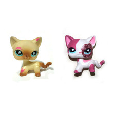 Pet Shop Cream Pink Splash & Sparkle Short Hair Cat Loose Figure Toy FREE SHIPPING(China)