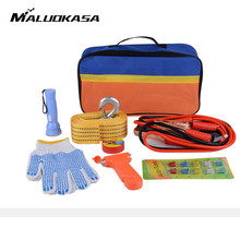 MALUOKASA Auto Safety Emergency Rescue Kit Set Outdoor Carriage Trailer Rope With Fire Wire Fire Extinguisher Insulated Gloves(China)