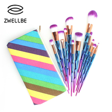 zwellbe 7/12Pcs Diamond Shape Makeup Brushes Set Beauty Cosmetic Eyeshadow Lip Powder Face Pinceis Tool Kabuki Brush Kits Pincel(China)