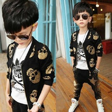 Children's clothing 2017 spring and autumn personality Gilding skull long-sleeve child coat+harem pants twinset  kids sport suit