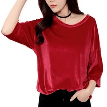 Buy EXOTAO Women Half Sleeves Velvet T-Shirt Fashion Loose Solid Color O-Neck T-Shirt Women Spring Summer Women Tops Harajuku for $8.99 in AliExpress store