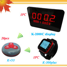 Wireless Restaurant Paging System 20PCS Waiter Call Button K-O3 and 1PC Receiver Wrist Watch Pager 1PC Service Bell Panels(China)