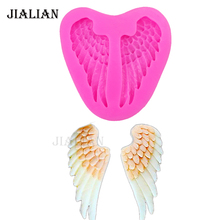 3D Angel wings chocolate cake decorating tools DIY Bird feathers fondant silicone mold Clay Resin sugar Candy Fimo Sculpey T0227(China)
