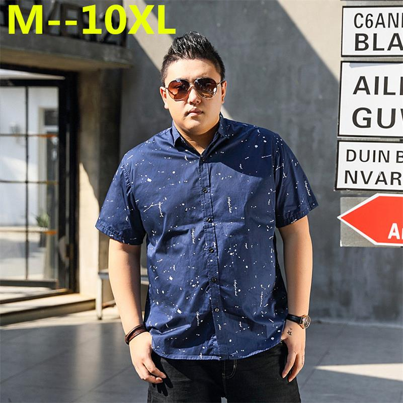 plus size 10XL 8XL 6xl 5xl 4xl Mens 2018 Geometric Print short Sleeve Dress Shirts Men Cotton Button Down Blouse Shirts Tops BIG