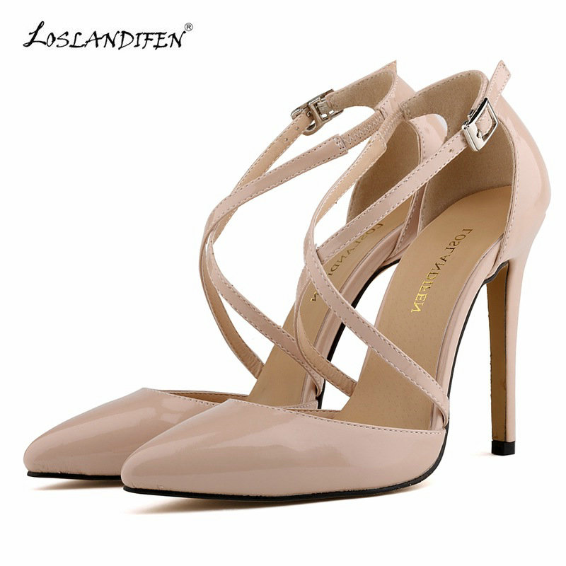 LOSLANDIFEN 2017 New high heel shoes pointed tor Court shoes Evening Dress Patent Leather extreme high heels shoes woman<br>