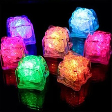 12 pcs food Grade Plastic Reusable Fake Decorative LED Glow Light Ice Cubes Rocks Water Submersible for Party Wedding Club Bar