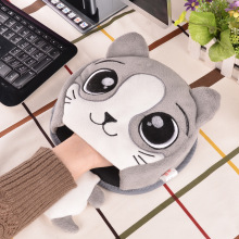 Winter Warm Mouse Pad Thick Cartoon Plush Hand Warmer Heated Mouse Mat USB Port with Wristguard(China)