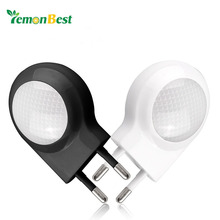 Mini Auto ON/OFF Night Lamp LED Plug Light Bedside Bathroom Built-in Light Sensor Wall Lamp With EU Plug
