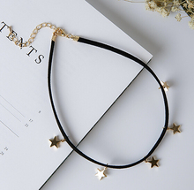Harajuku Style Simple Black Velvet Five-pointed Star Choker Necklace Pendant Silver Star Collars Choker Necklace women Jewelry