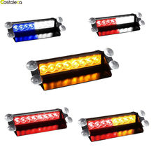 Castaleca 12V 8 Led Police Light Red Blue Amber White Vehicle Emergency Warning Strobe Light