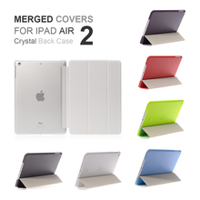 Free Shipping PU Leather Tri-fold Ultra Thin Slime Smart Light Merge Part Crystal Back Anti-scratch Case Cover For iPad Air 2(China)