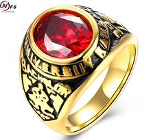 Vintage Army Rings Gold-color Ring With CZ Stone Stainless Steel  Pattern Ring For Male Jewelry Red Stone Military Army Ring