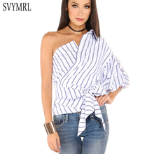 Svymrl 2017 New Fashion Women Summer Blue Striped shirts Blouses One Shoulder Wrap Around Bow Ruffle Tie Waist Slim shirt tops