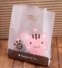 Matt Cute cate plastic gift bags,plastic shopping bags,Festival gift package 23x32x11cm 50pcs/lot(China)