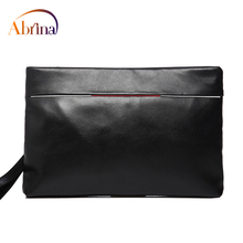 Abrina Leather Hand Bag Men Casual Envelope Male Soft Solid Day Clutches Wristlet Zipper Card Holder Cellphone Bus Good Quality(China)