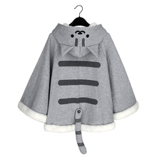 Neko Atsume Kitty Cat Sweater Hoodie Cloak Cape Cotton Autumn Winter Hooded Hoodies Female Stereo Ear Stereo detachable Tail