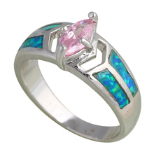Wholesale & Retail Pink  Blue Fire Opal Silver Stamped Ring Size  #6.5 #6.75 #7.5 #8.75 Fashion Jewelry Opal Jewelry OR544A