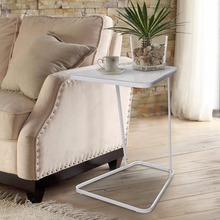 Lifewit End Table Side Snack Coffee Sofa Table Modern Tempered Glass carbon Steel Living bed Room Home Furniture, White