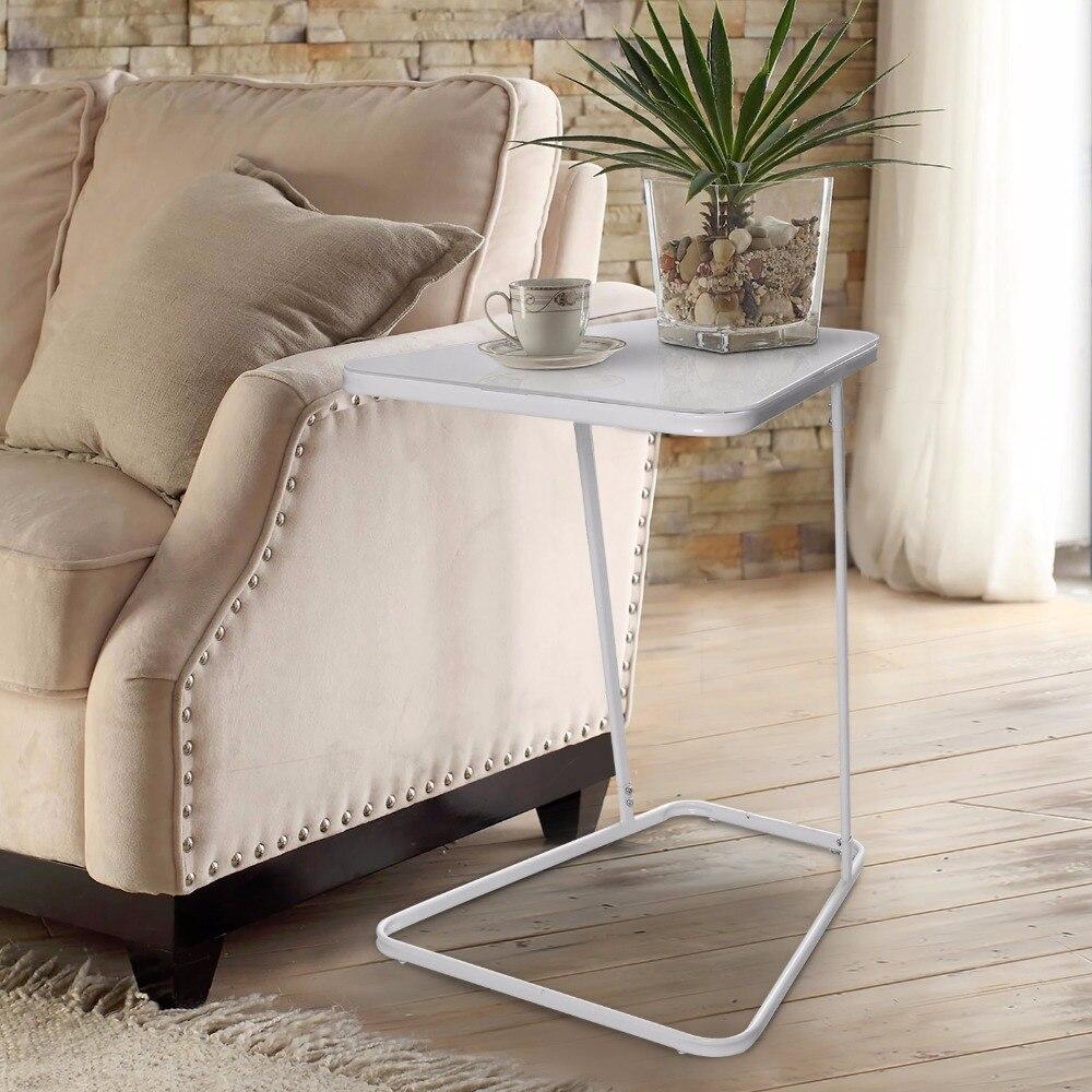 Lifewit beistelltisch snack kaffee sofa tisch modernen gehärtetem glas kohlenstoffstahl wohnzimmer bettzimmer wohnmöbel weiß