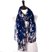 Jeouly navy scarf cachecol marcas foulard 2017 Spring butterfly ladies flag scarves women shawl blue hijab accessories wrap