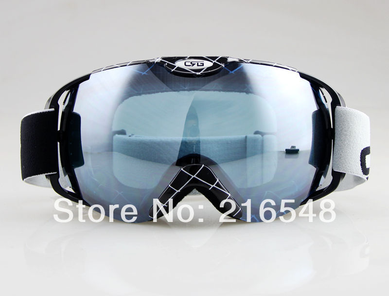 Free shippingBLACK&amp;WITHE STRIPES FRAME SKI SNOWBOARD GOGGLES ANTI-FOG DOUBLE GRAY BLUE LENS<br><br>Aliexpress