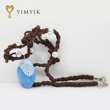 YimYik Fashion Moana Ocean Romance Rope Chain Necklaces Blue Stone Necklaces & Pendants Choker Necklace for women Girls jewelry
