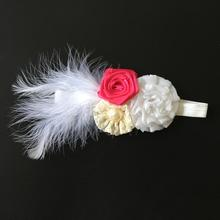 Baby Feather Rosette Headband Newborn Wraps Girls Flower Headband Fascinator