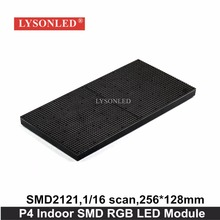 Lysonled 2017 Promotion Hd P4 Indoor Smd2121 Full Color Led Display Module 256*128mm,1/16 Scan Indoor P4 Rgb Led Module 64x32(China)