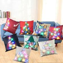 1PC Home Decorative LED Christmas Light Cotton Linen Throw Pillow Case Sofa Cushion Cover Home Decor 2(China)
