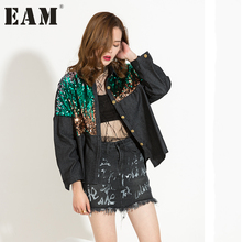 [EAM] 2017 winter Fashion Trend New Loose Big Size Sequins Long Sleeve Denim Jacket Short Style Coat Woman AL56(China)
