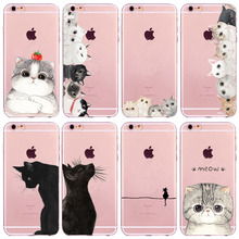Cute Cat Case Cover For iPhone 6 6s 7 Plus 6sPlus 6Plus 4 4s 5 5s SE Transparent Soft TPU Silicone Cell Phone Bag Capa Cases(China)
