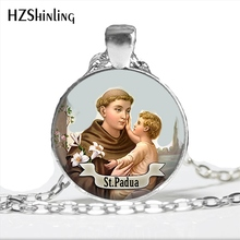 2017 Newest St Anthony of Padua Necklace Saint Pendant Art St Anthony Jewelry Glass Cabochon Religious Religious Necklace HZ1(China)