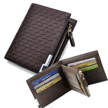 Brand 2015 Men Leather Wallet Special Plaid Men Wallets Short Zipper Card Holder Men's Coin Purse Masculina Carteira Money Bag