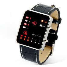 2016 New Design Digital Red LED Sport Wrist Watch Binary Wristwatch PU Leather Women Mens Watch Mens Watches Top Brand Luxury