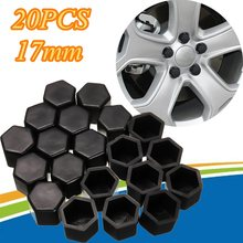 20pcs 17mm Black Silicone Hex Protector Wheel Lug Bolt Nut Cap Valve Stem Cover(China)
