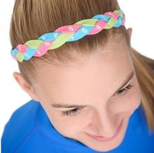 2017 New Softball Baseball Sports Braided Headbands Sweat Silicone Non Slip Scrunchy Girl Soccer Yoga Elastic Hair Bands