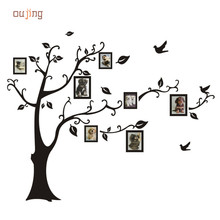 Oujing Home Black 3D DIY Photo Tree PVC Wall Decals Adhesive Wall Stickers Large 180*250cm Family Photo Frame Tree Wallpaper