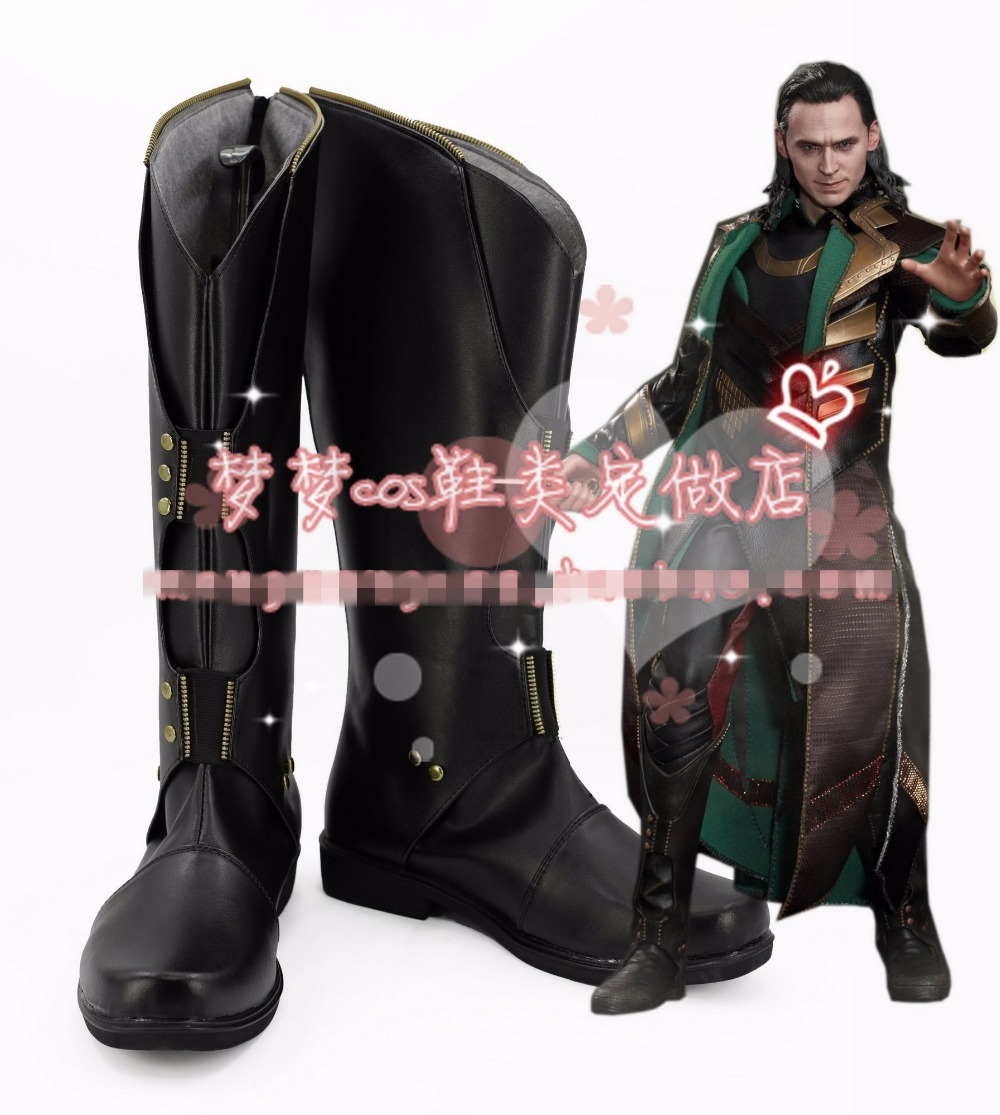Free Shipping Thor2 Loki Cosplay Shoes Halloween Black High Boots Custom-made