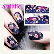 1 sheet Water Transfer Nail Art Sticker Decal Cherry Blossoms 3D Print Design Manicure Tips DIY Nail Foils Decorations 8064