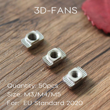 50Pcs M3 M4 M5 Carbon steel T type Nuts Fastener Aluminum Connector For EU Standard 2020 Industrial Aluminum Profile for Kossel(China)